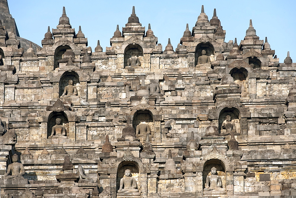 Detail of Borobodur, a 9th-century Buddhist Temple in Magelang, near Yogyakarta in central Java, Indonesia.