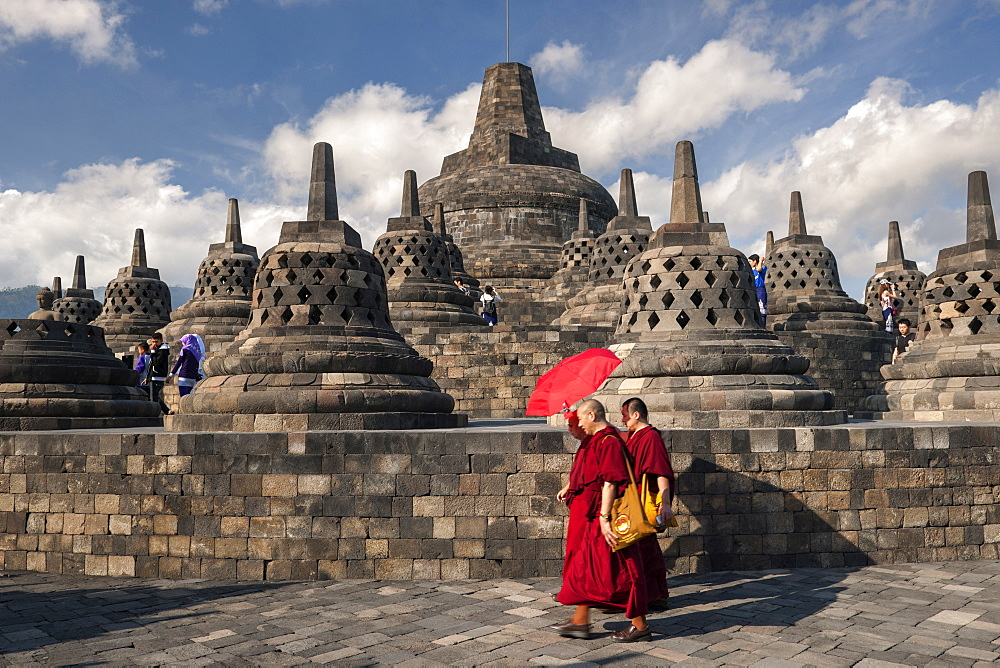 Stupa (bell-shaped ornaments) of Borobodur, a 9th-century Buddhist Temple near Yogyakarta in central Java, Indonesia. - 829-2171