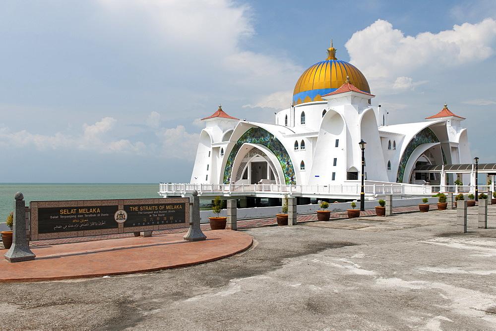 The Malacca Straits Mosque (aka Masjid Selat Melaka) in Malacca, Malaysia. - 829-2178