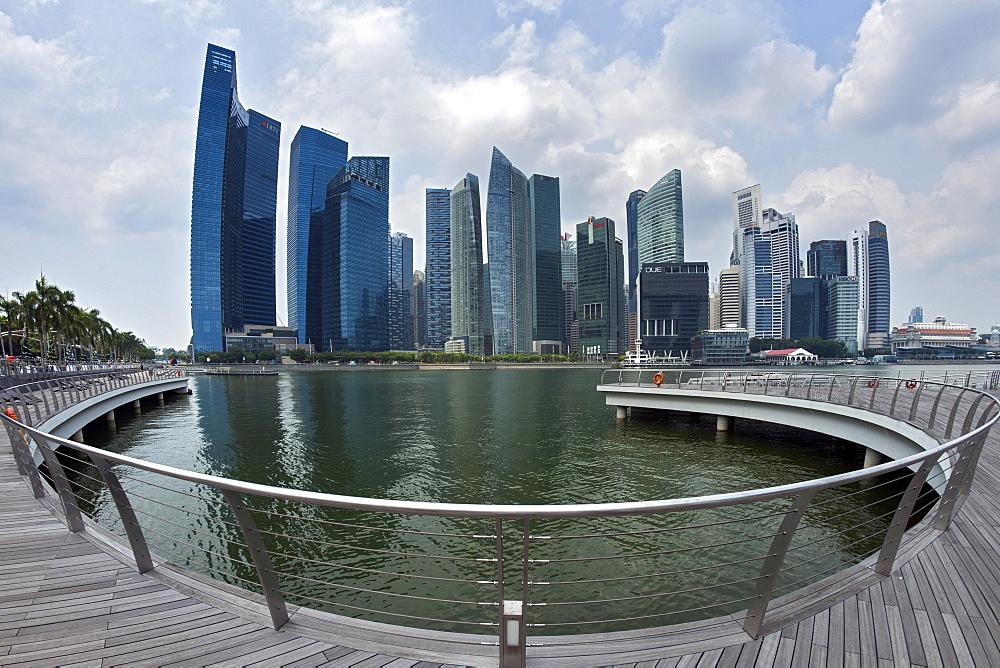 The Singapore skyline and Marina Bay in Singapore.