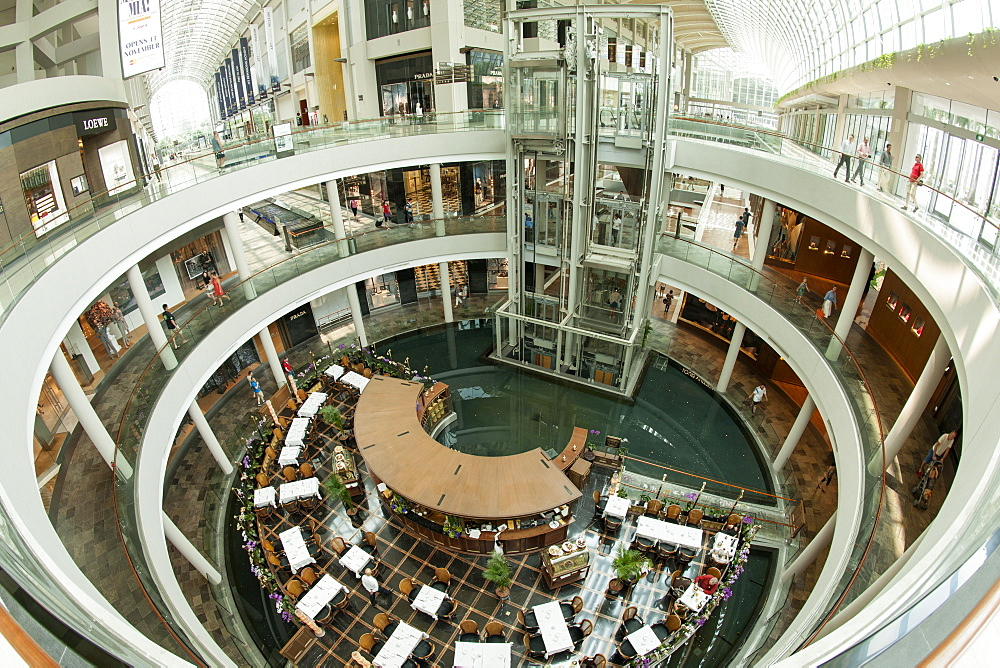 Interior of The Shoppes, a shopping mall attached to the Marina Bay Sands Hotel in Singapore.