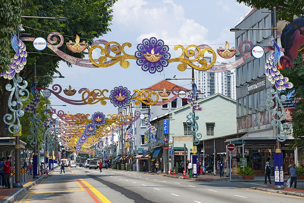 Decorations spanning Serangoon road in the Little India district of Singapore.