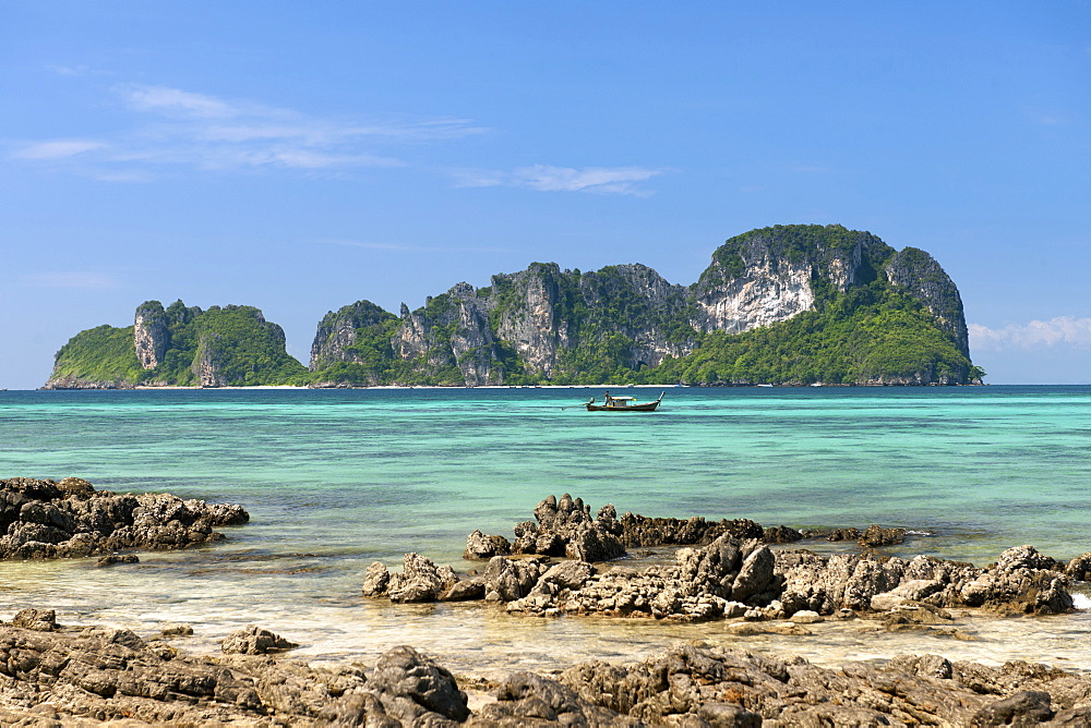View of Mosquito island from Bamboo island (Ko Mai Phai) near Koh Phi Phi in the Andaman Sea on Thailand's west coast.
