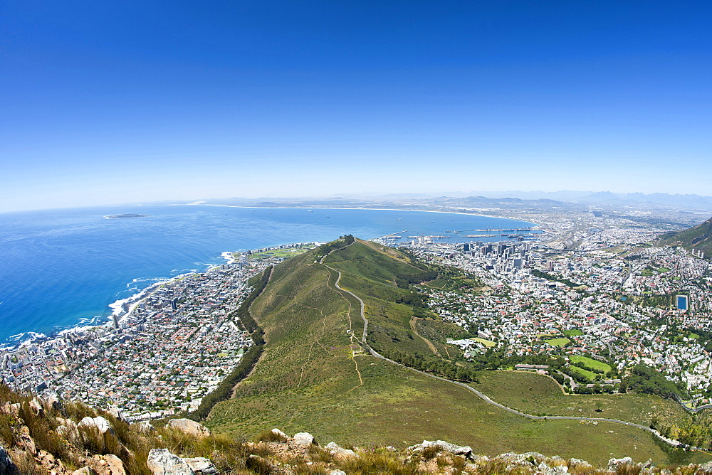 Table Bay, Signal Hill and the city of Cape Town in South Africa.
