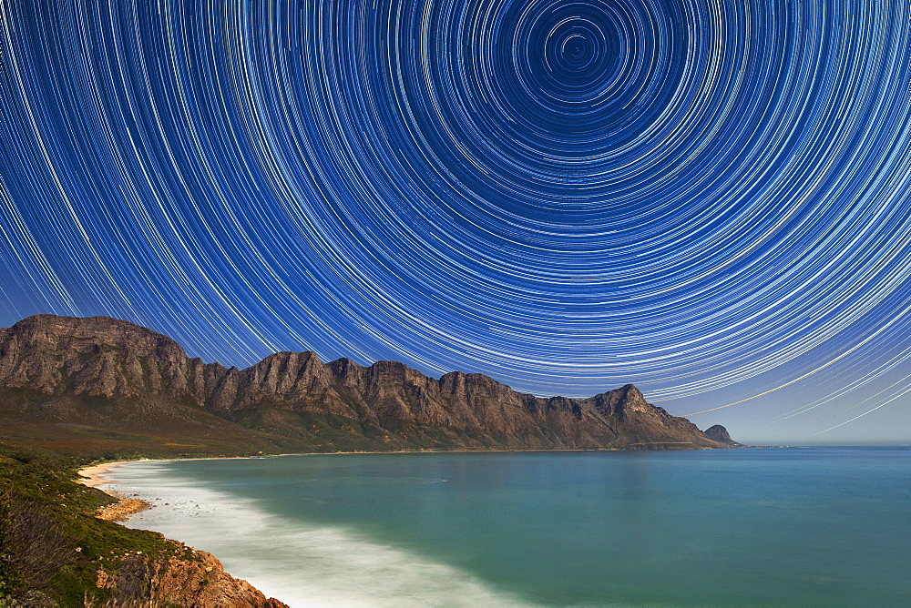 Star trails over Kogel Bay near Cape Town, South Africa.