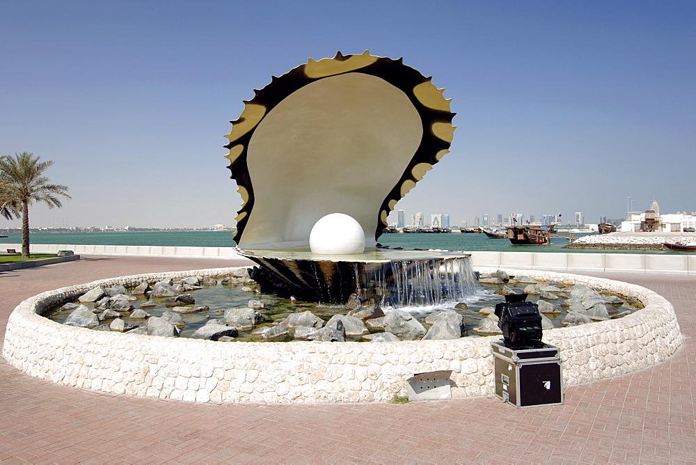 The Pearl Monument on the Doha corniche in Qatar.