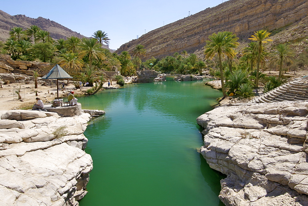 The turquoise pools of Wadi Bani Khalid in the eastern Hajar mountains (Al Hajar ash sharq) of the sultanate of Oman.