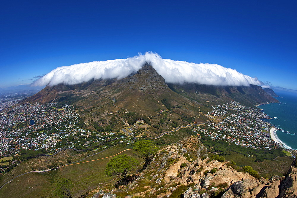 Table cloth cloud effect over Table Mountain in Cape Town, South Africa.