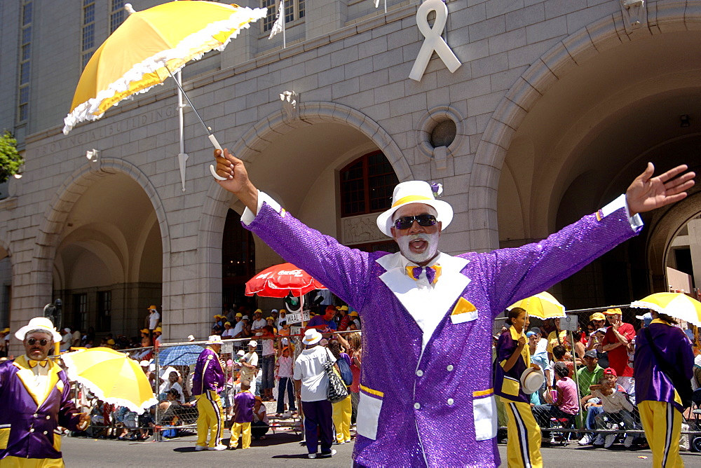 Participant in the annual Minstrels procession (also referred to as the Coon Carnival) in Cape Town.