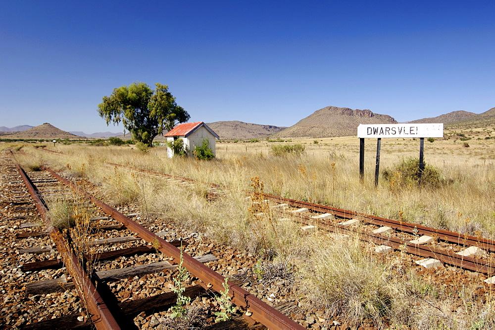 Disused 'Dwarsfeld' train station between Graaf Reinet and Middelburg in the Karoo region of South Africa's Eastern Cape Province.