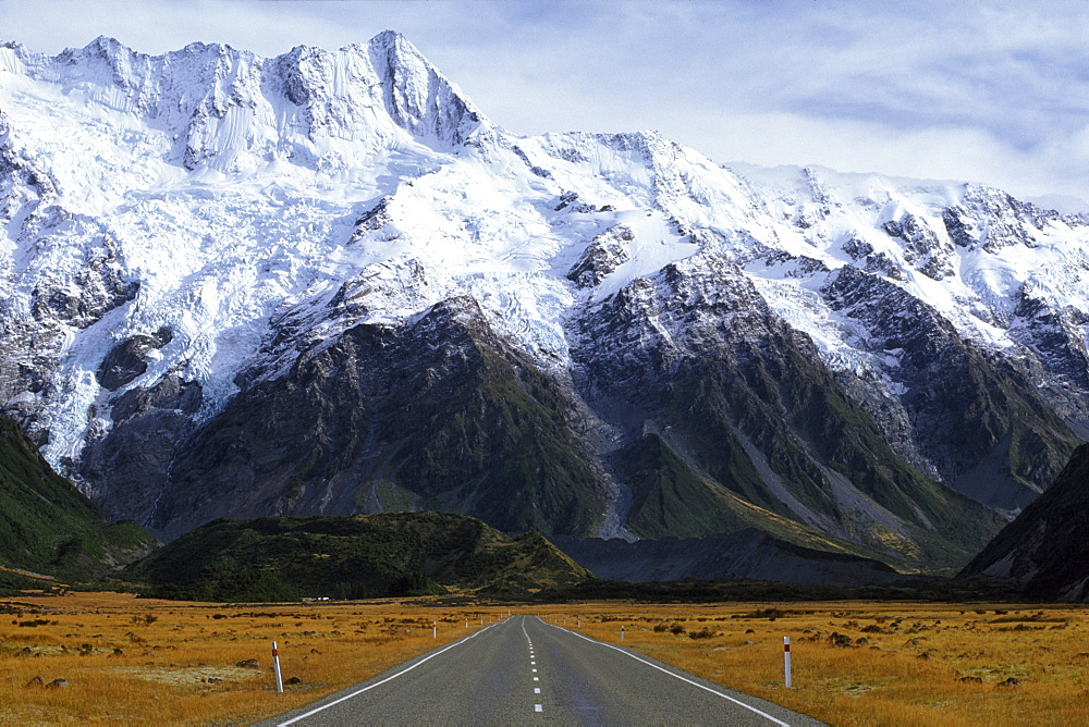 The road to Mount Cook in the Aoraki National Park, South Island, New Zealand, Pacific