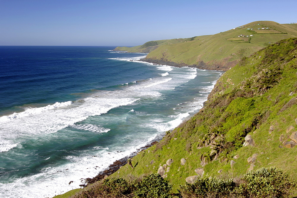 Coastal scenery between Coffee Bay and Hole in the Wall in a region of South Africa's Eastern Cape Province formerly known as the Transkei.