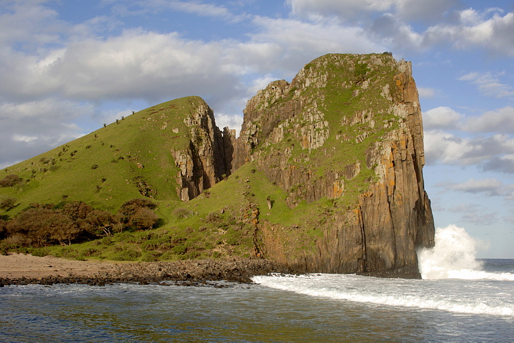 Landscape along the wild coast near Hole in the Wall in a region of South Africa's Eastern Cape Province formerly known as the Transkei.