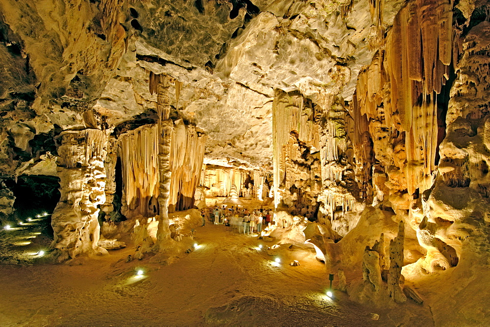 View of Botha's Hall in the Cango Caves near Oudtshoorn in South Africa's Western Cape Province. To the left of centre is the Double Petrified column, in the centre is the Leaning Tower of Pisa and behind that is the Petrified Weeping Willow. On the right are the Frozen Victoria Falls.