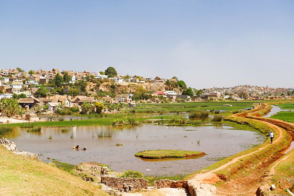 View of the housing and landscape on the outskirts of Antananarivo, Madagascar, Africa