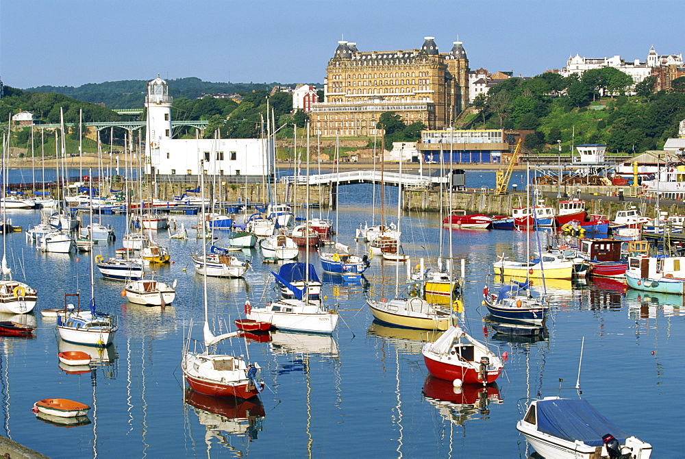Pleasure boats in the harbour at Scarborough, the popular seaside resort on the coast of North Yorkshire, England, United Kingdom, Europe