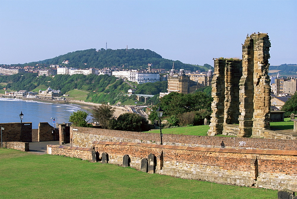 View from St. Mary's Church towards the Grand Hotel and South Shore, Scarborough, Yorkshire, England, United Kingdom, Europe