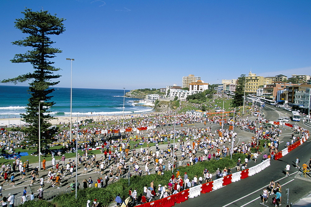Competitors in the annual City to Surf race at the finish in Bondi, Sydney, New South Wales, Australia, Pacific