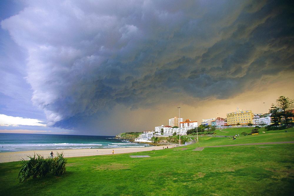 Thunderstorm advancing over Bondi Beach in the Eastern suburbs, Sydney, Australia