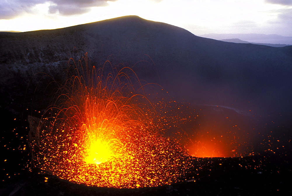 Eruptions from vents in the crater of Mount Yasur, Yasur Volcano, Tanna Island, Vanuatu, Pacific