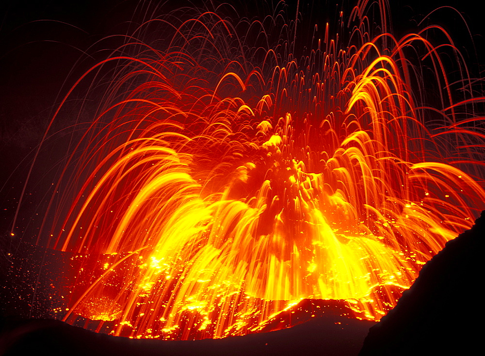 Eruption from vent in the crater of Mount Yasur, Yasur Volcano, Tanna Island, Vanuatu, Pacific