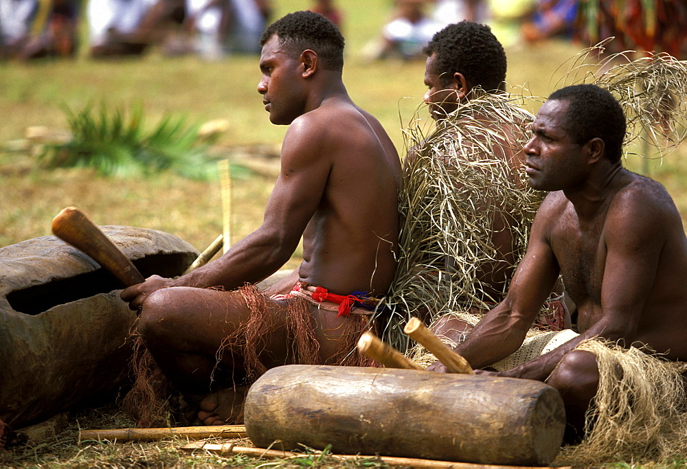 Tamtam drummer from the Island of Pentecost playing at a traditional dance during a cultural festival, Port Vila, Efate Island, Vanuatu