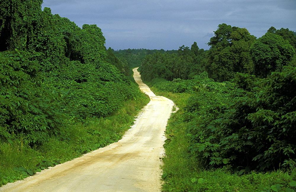 The main coastal road on the east coast of Santo, Vanuatu's largest island, Espiritu Santo, Vanuatu