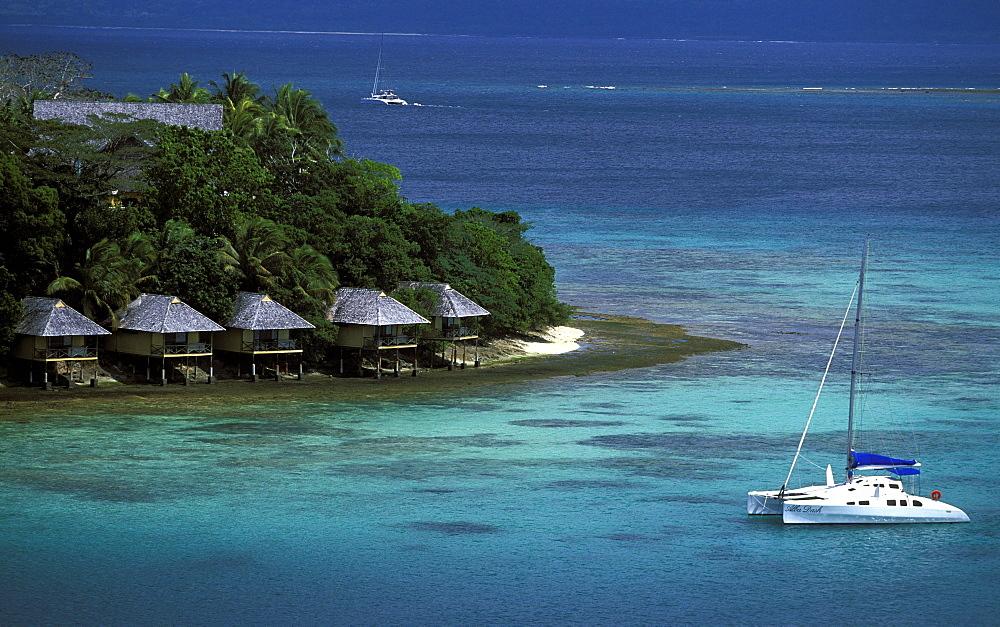 Guest cabins on the resort island  of Iririki just off Port Vila in Vila Bay, Efate Island, Port Vila, Vanuatu