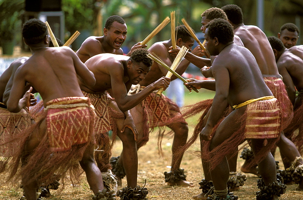 Men from the island of PENTECOST in a traditional dance at a Melanesian cultural festival, Efate Island, Port Vila, Vanuatu - 83-11837