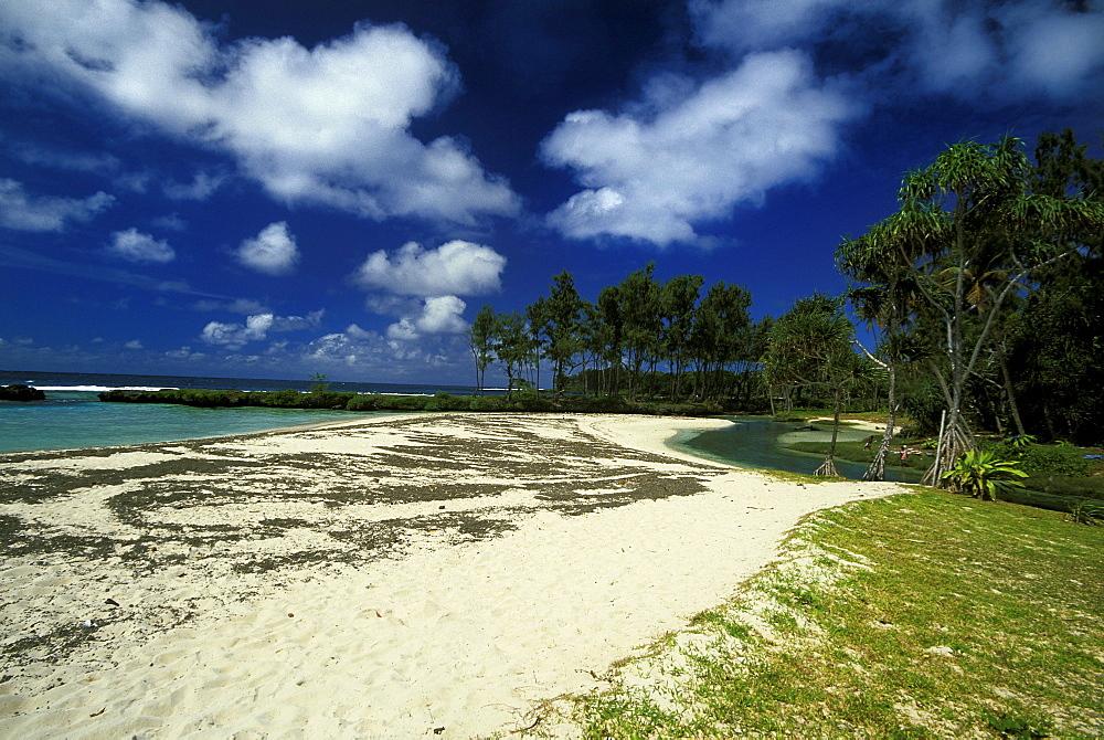 The white sand beach at Eton on the south east coast of the island, Efate Island, Vanuatu