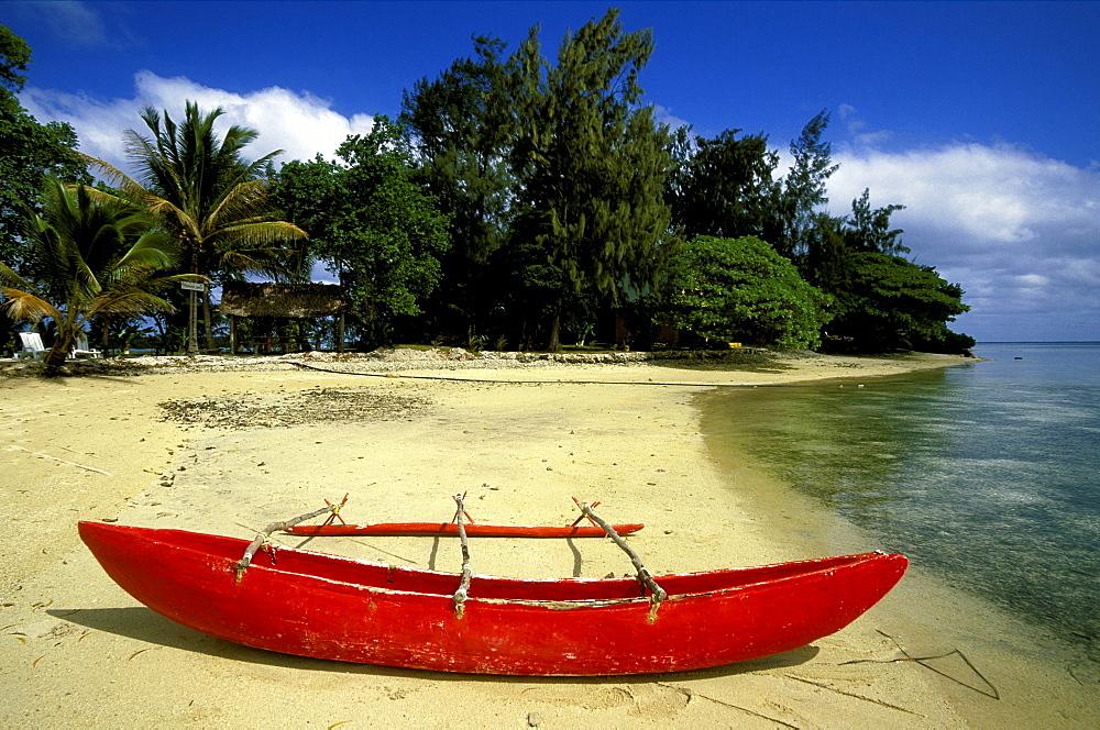 Outrigger canoe moored on the resort island of ERAKOR in Erakor Lagoon, just south of the capital, Efate Island, Port Vila, Vanuatu