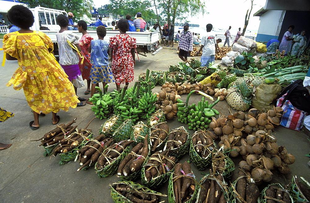 Three important staples: taro, coconut and banana at the vegetable market in the capital's city centre, Efate Island, Port Vila, Vanuatu