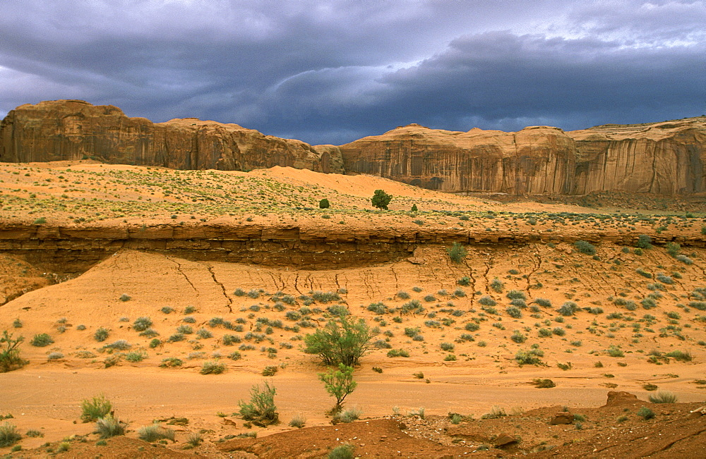 The eroded sandstone landscape of Monument Valley Tribal Park, a Navajo Nation reservation on the border with Utah, its scenery immortalised in many Western films, Monument Valley, Arizona, United States of America (USA), North America