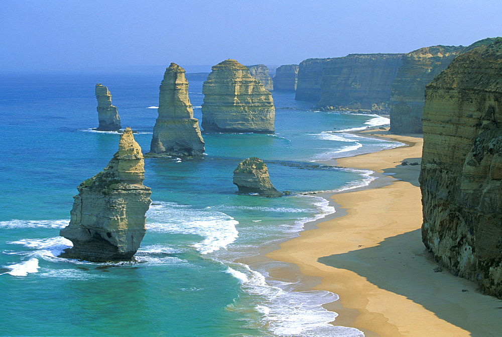 Sea stacks and dramatic limestone cliffs at The Twelve Apostles, Port Campbell National Park, Great Ocean Road, Victoria, Australia, Pacific