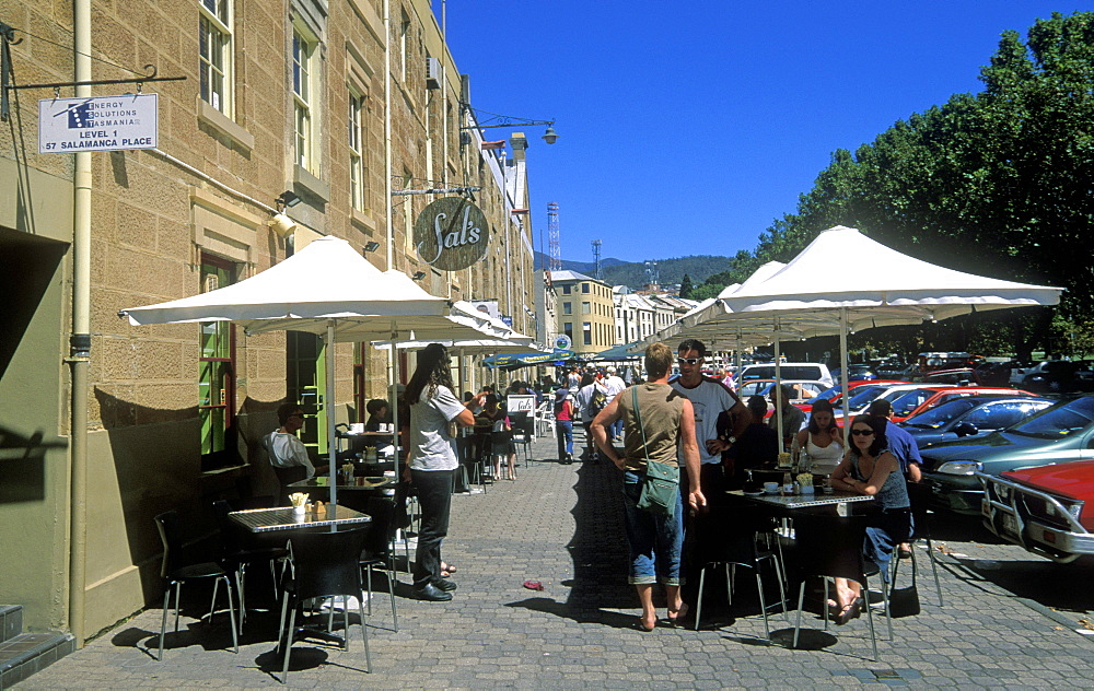 Sandstone warehouses converted to cafes, galleries and shops at popular Salamanca Place, Hobart, Tasmania, Australia, Pacific