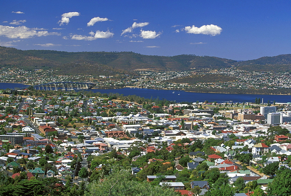 Looking north east across the centre of the state capital towards the Queen's Domain, the Tasman Bridge and the River Derwent, Hobart, Tasmania, Australia, Pacific