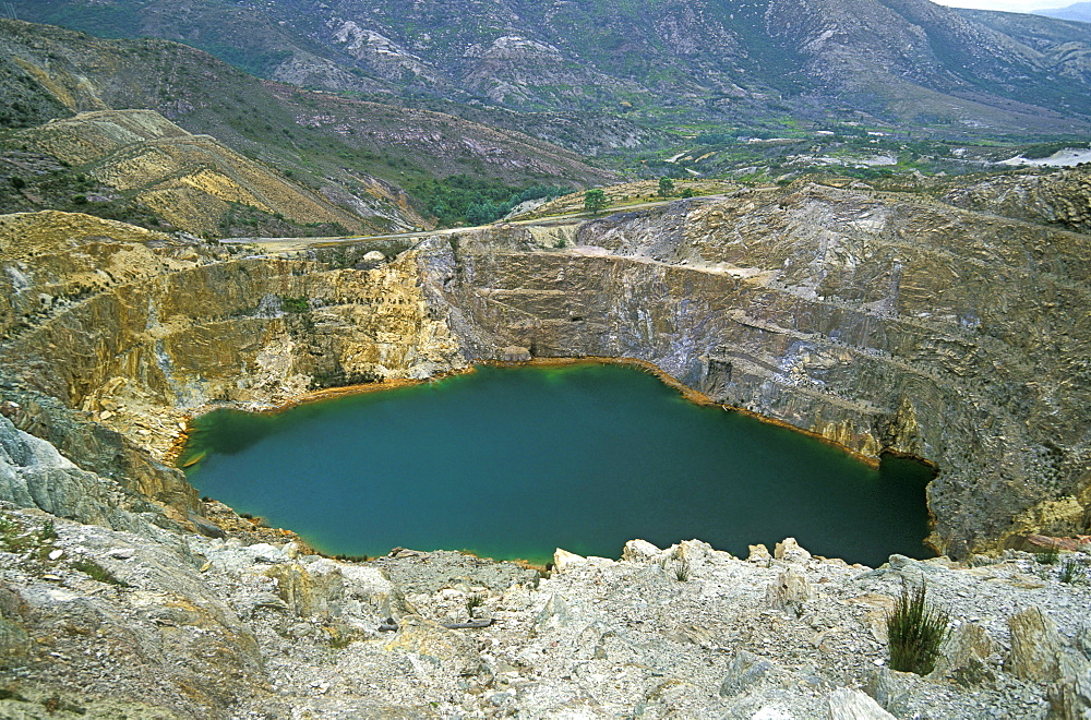 'Iron Blow', the famous Mount Lyell mine where gold and copper was discovered in 1883, starting the mining boom and subsequent environmental damage here, Queenstown, Tasmania, Australia, Pacific