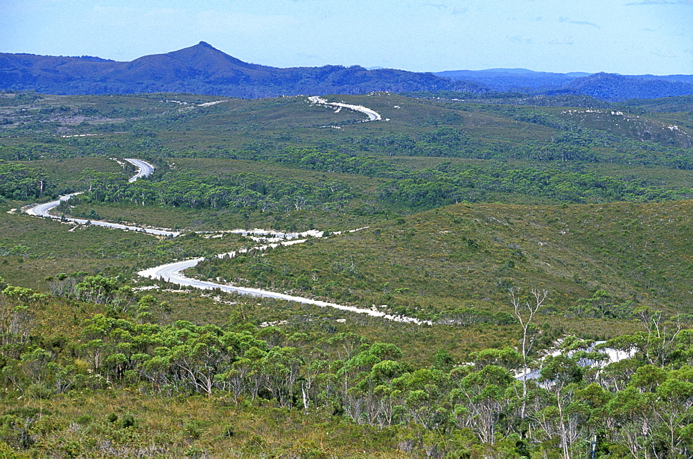 The 'Western Explorer' near Savage River, an improved route through the Arthur Pieman Conservation Area, North West, Tasmania, Australia, Pacific