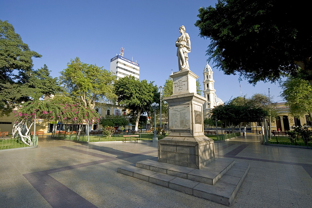 Statue commemorating popular president D. Jose Balta who died in a coup in 1872, in the Plaza de Armas of this vibrant commercial and historic centre in the north, Puira, Peru, South America