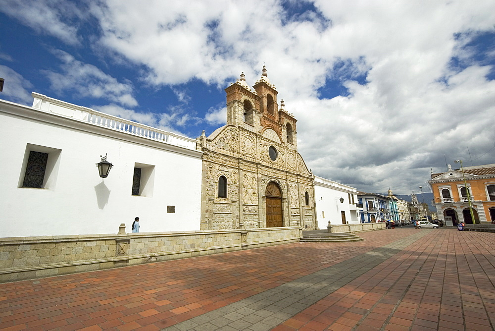 Baroque mestizo limestone facade of the Cathedral in this colonial-style provincial capital, Riobamba, Chimborazo Province, Central Highlands, Ecuador, South America