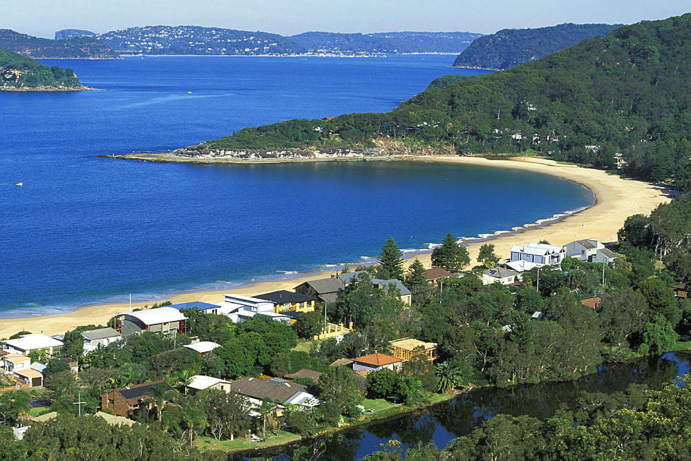 Looking south across Pearl Beach and Broken Bay towards the mouth of the Hawkesbury River and Pittwater, near Gosford, Central Coast, New South Wales, Australia, Pacific
