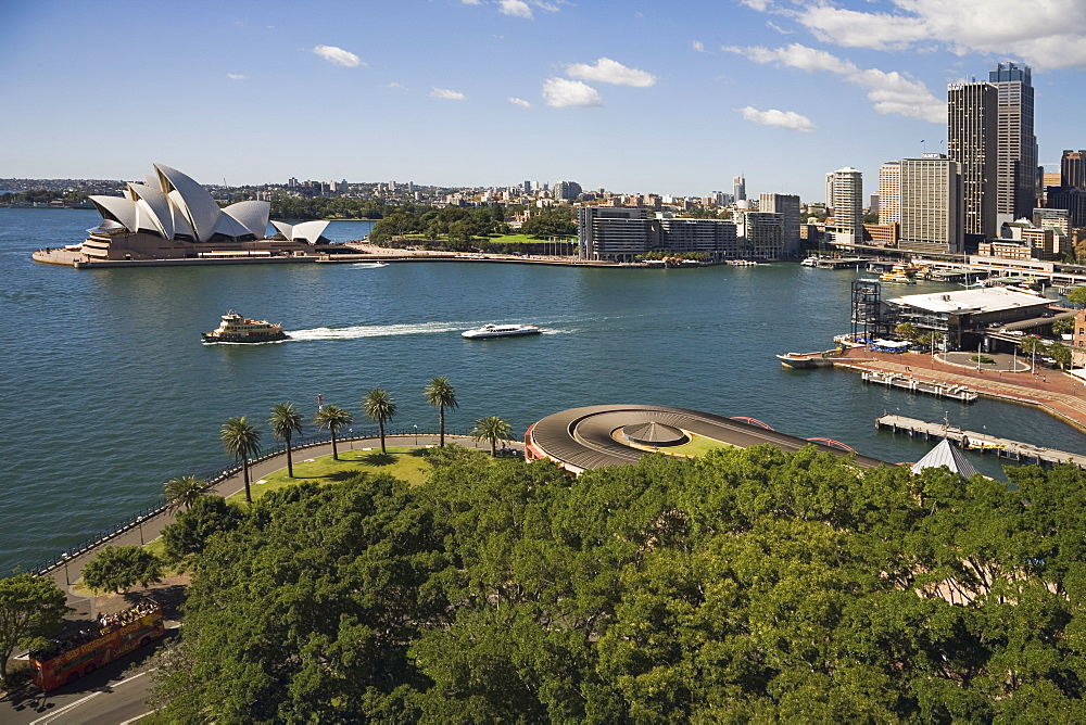 View from Harbour Bridge over Dawes Point to the Opera House and Circular Quay, the Sydney Ferries terminus and rail stop for the CBD and tourist centre, Sydney, New South Wales, Australia, Pacific