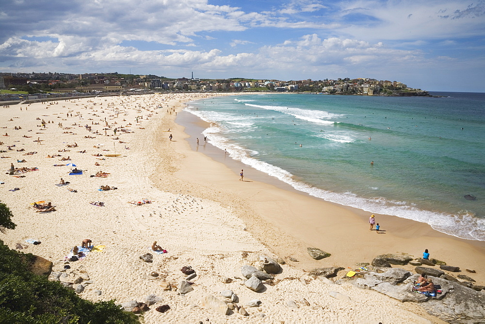 Looking across Bondi Beach in the Eastern Suburbs towards North Bondi, Bondi, Sydney, New South Wales, Australia, Pacific
