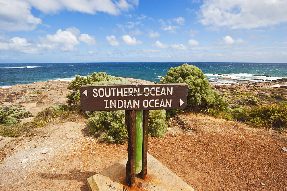 Sign marking the Southern and Indian Oceans at Cape Leeuwin, the south western tip of the continent, Augusta-Margaret River Shire, Western Australia, Australia, Pacific