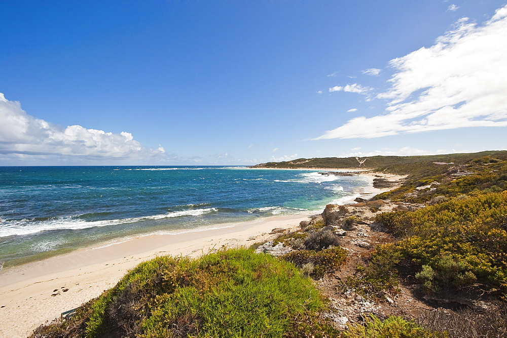 Looking north from Gnarabup towards the famous surf break at the mouth of the Margaret River, Augusta-Margaret River Shire, Western Australia, Australia, Pacific