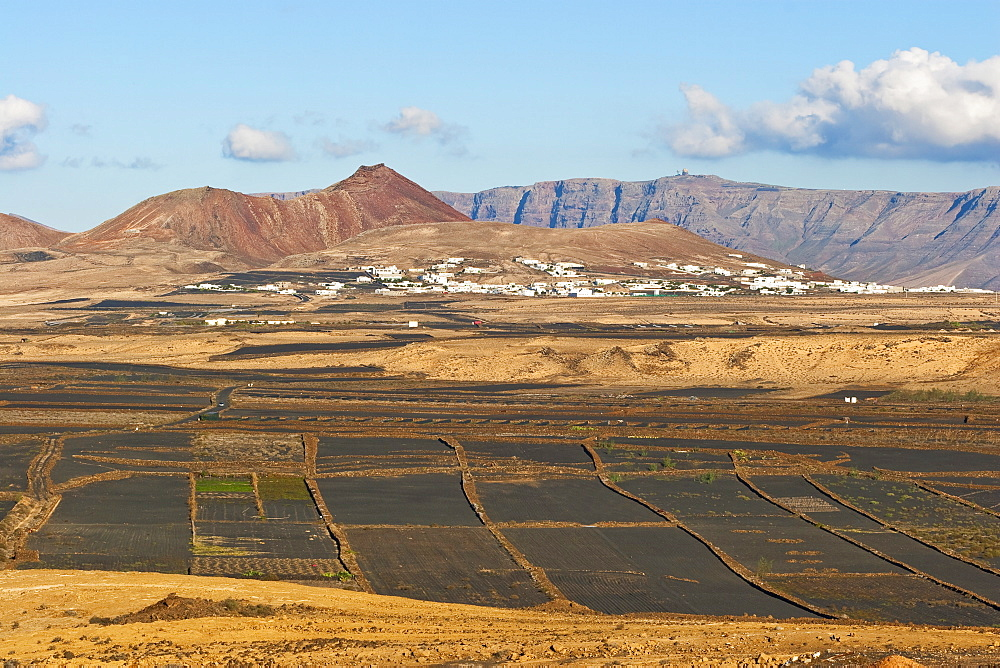 View across black volcanic cinder fields to the town of Soo and the Risco de Famara range with the highest point on the island at Penas del Cache radar site, Soo, Lanzarote, Canary Islands, Spain, Atlantic Ocean, Europe