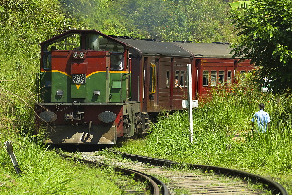 The Badulla to Colombo train, a scenic ride through the Central Highlands with its mountains and tea plantations, Ella, Sri Lanka, Asia