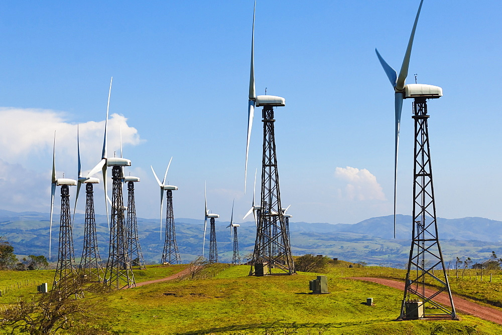 Some of the 55 20MW turbines at the Tilaran wind power farm in hills west of Arenal, Tilaran, Guanacaste Province, Costa Rica, Central America