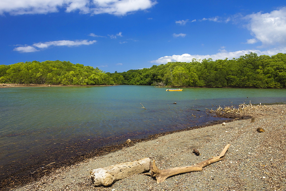 View across the Nosara River mouth towards the Biological Reserve, Nosara, Nicoya Peninsula, Guanacaste Province, Costa Rica, Central America