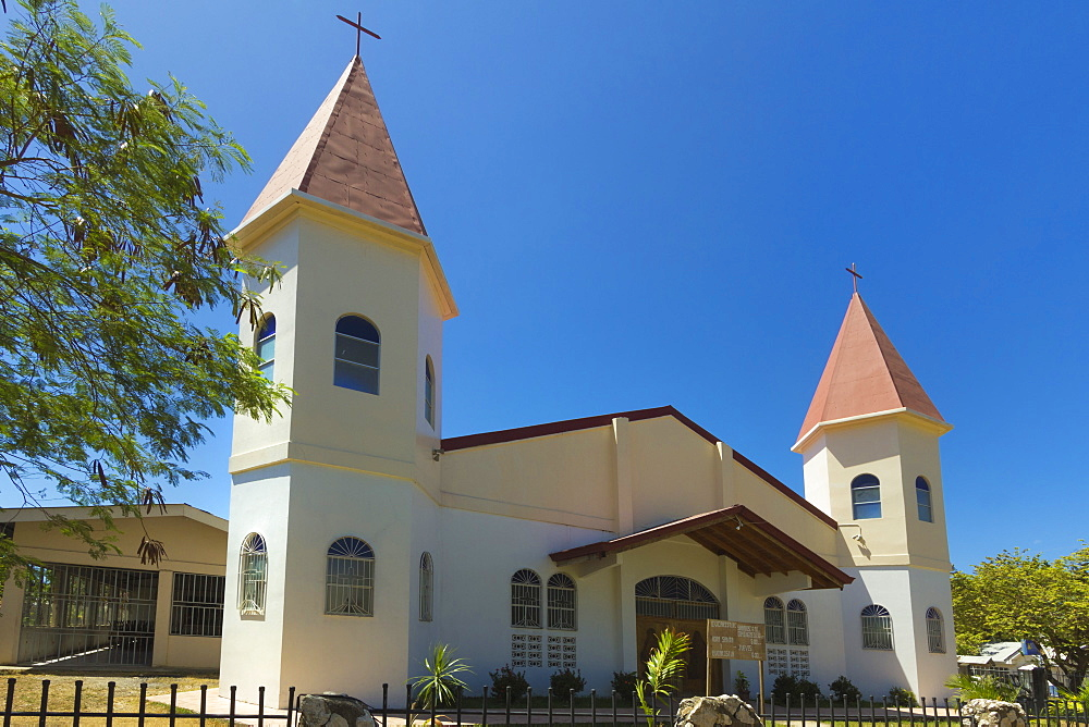 Twin-towered church in the centre of this laid-back village & resort, Samara, Guanacaste Province, Nicoya Peninsula, Costa Rica, Central America